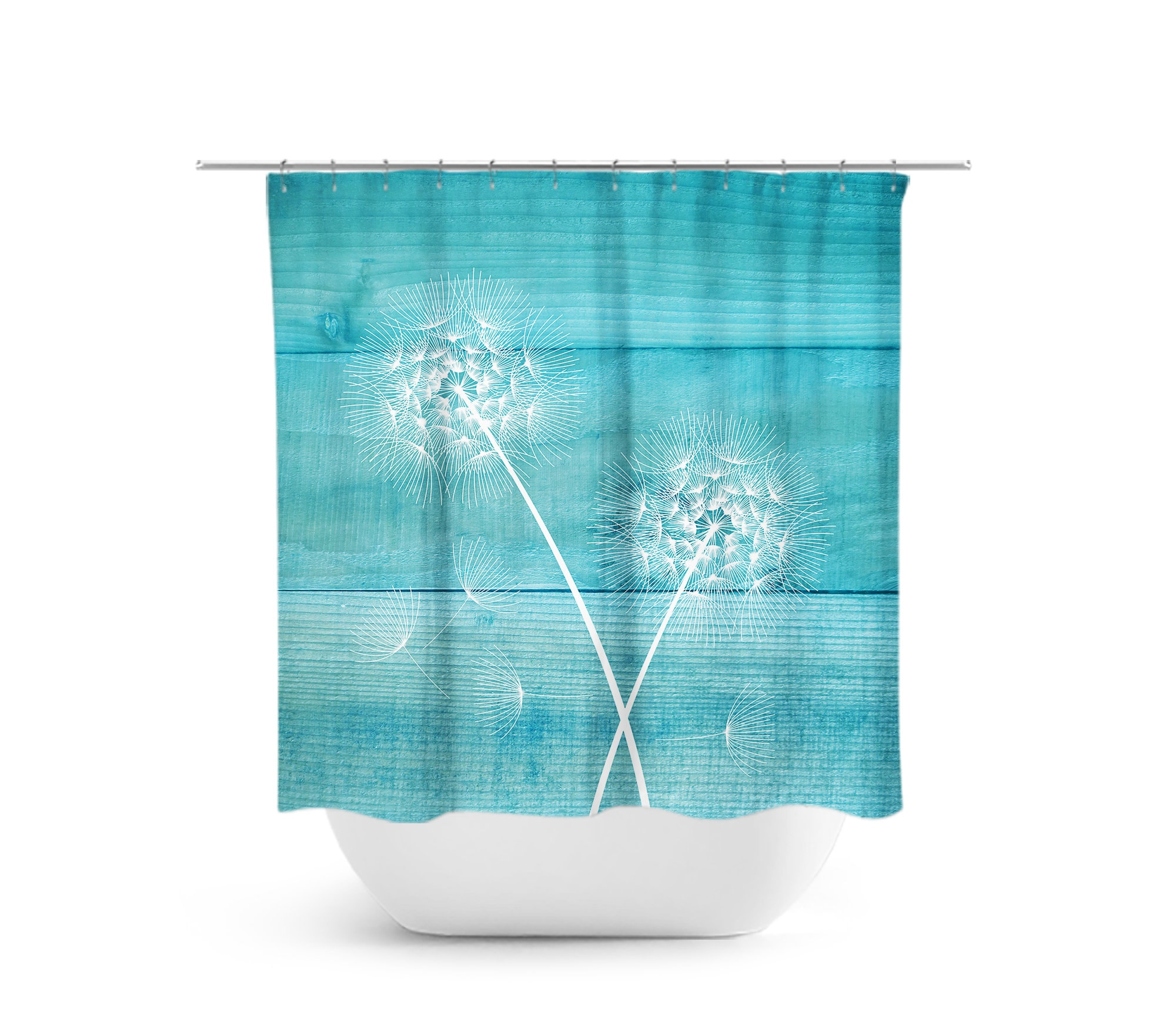 Dandelion Shower Curtain Rustic Bathroom Decor Bath Farmhouse Teal Aqua