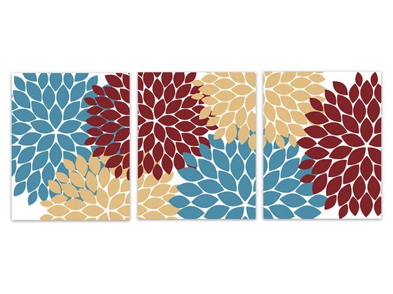 Floral CANVAS Wall Art, Red Blue Gold Flower Burst Art, Blue ...