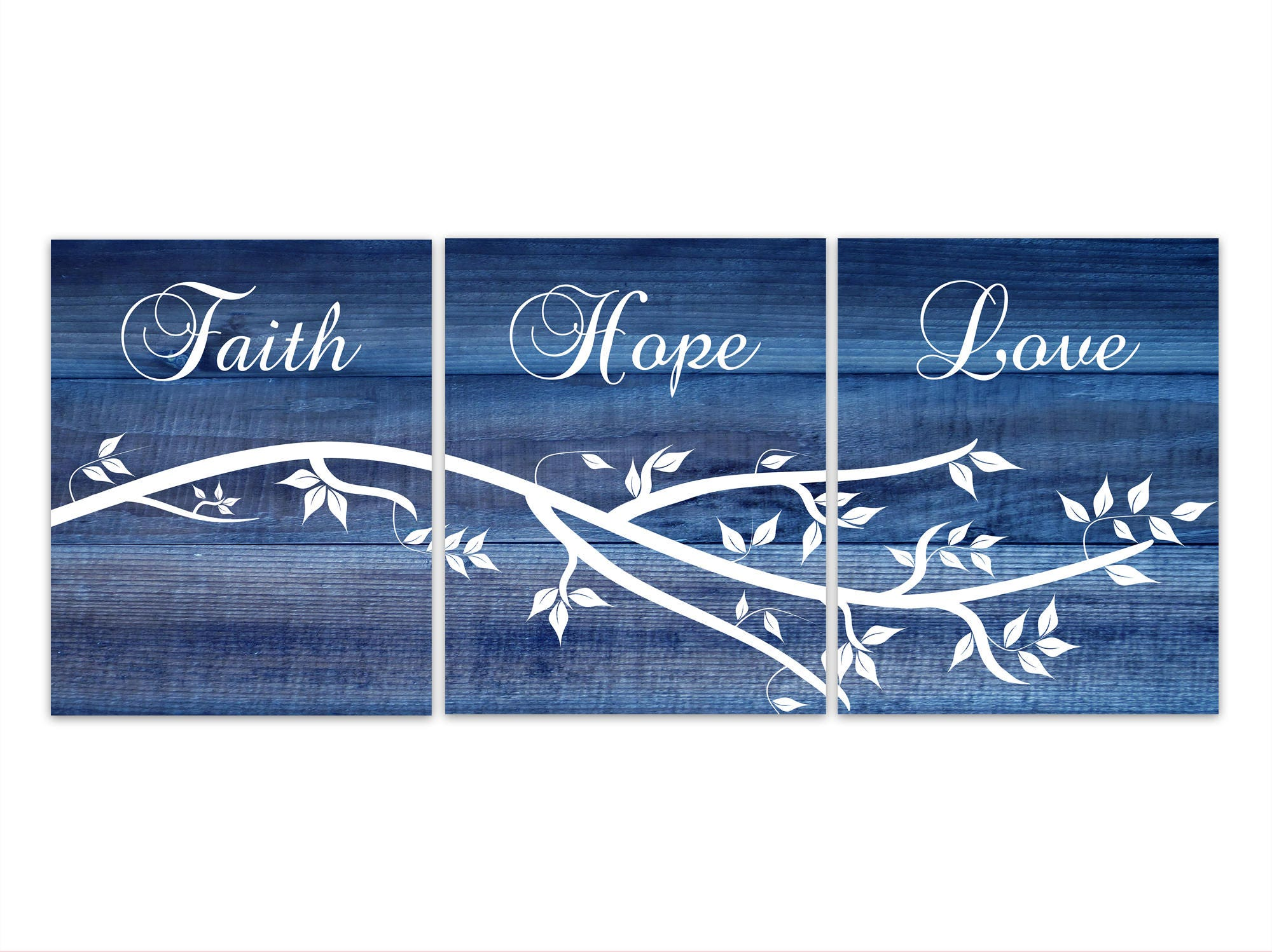 Faith Hope Love Wall Art Bible Verse Canvas Rustic Home Decor