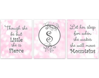 Pink Nursery Wall Art, Let Her Sleep CANVAS, Though She Be But Little, She Is Fierce, Pink and Grey Nursery Print, Monogram Print - KIDS209