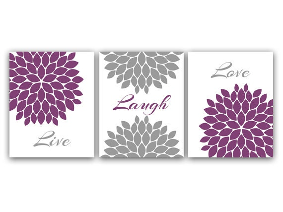 Home Decor CANVAS Wall Art, Live Laugh Love, Purple Wall Art, Flower ...