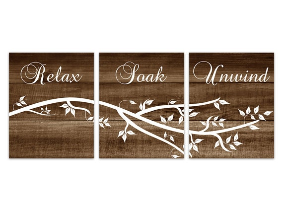 Brown Bathroom Wall Art Relax Soak Unwind Bathroom Art Wood Effect
