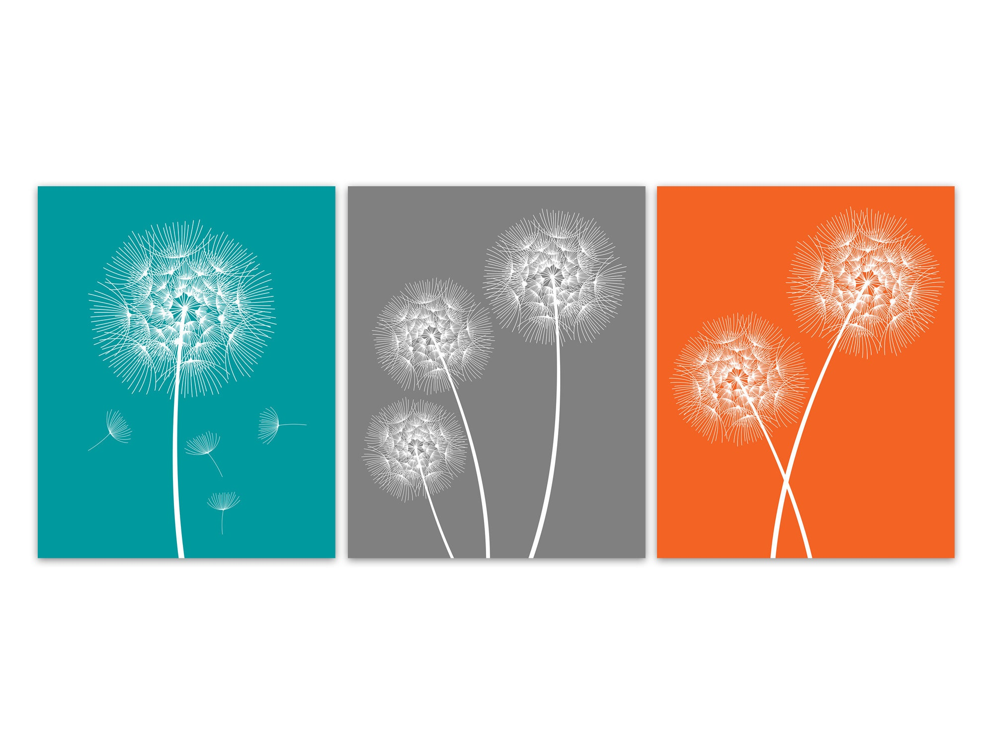 Teal Orange Wall Art PRINTS, Dandelion Artwork, Home Decor Canvas ...
