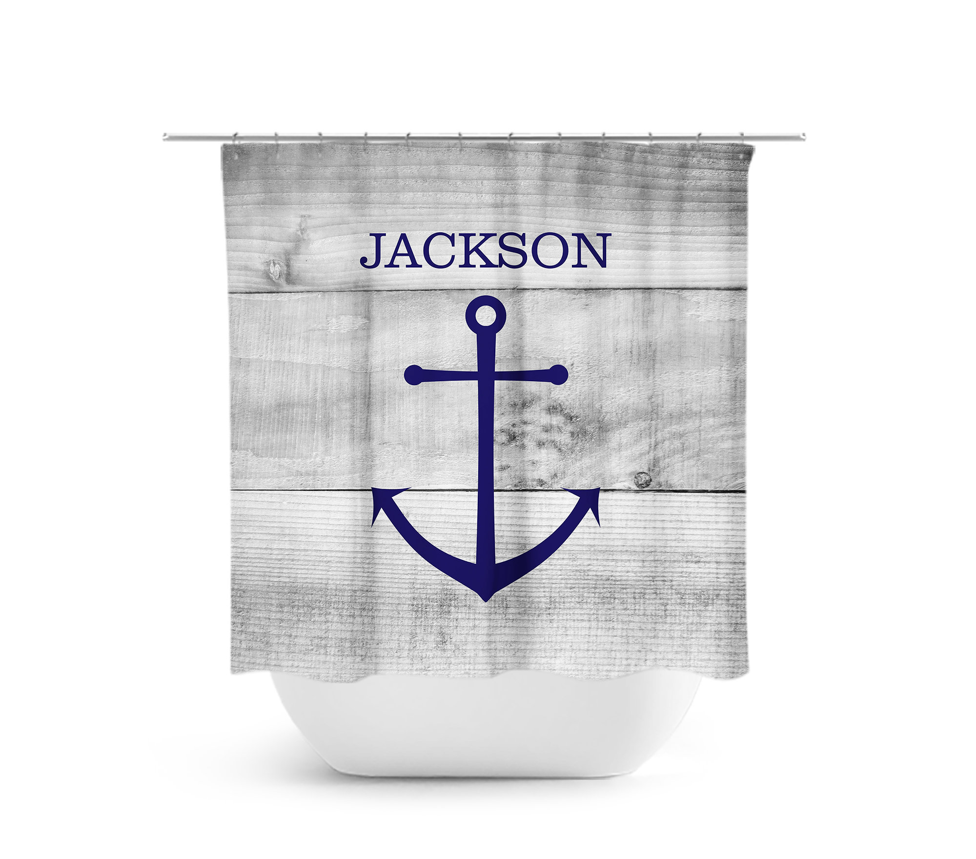 Nautical Shower Curtain Personalized Kids Bathroom Decor Bathtub Farmhouse