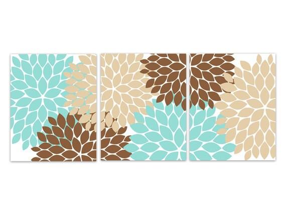 Teal and Brown Flower Burst Art, Home Decor CANVAS Wall Art PRINTS,  Bathroom Wall Decor, Aqua Bedroom Decor, Nursery Wall Art - HOME110