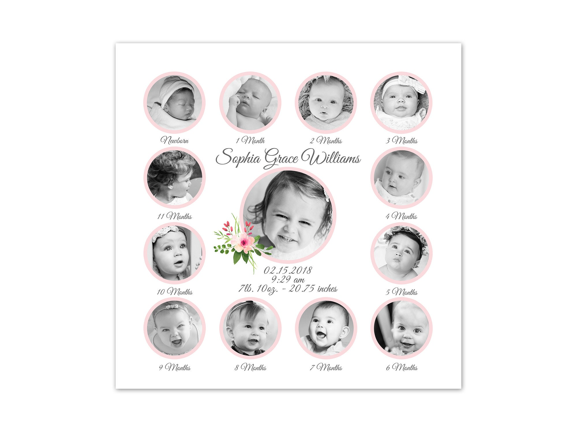 Girl Nursery Decor Birth Stats Art Babys 1st Year Pictures Birthday Gift Baby Keepsake Grandparents Mothers Day