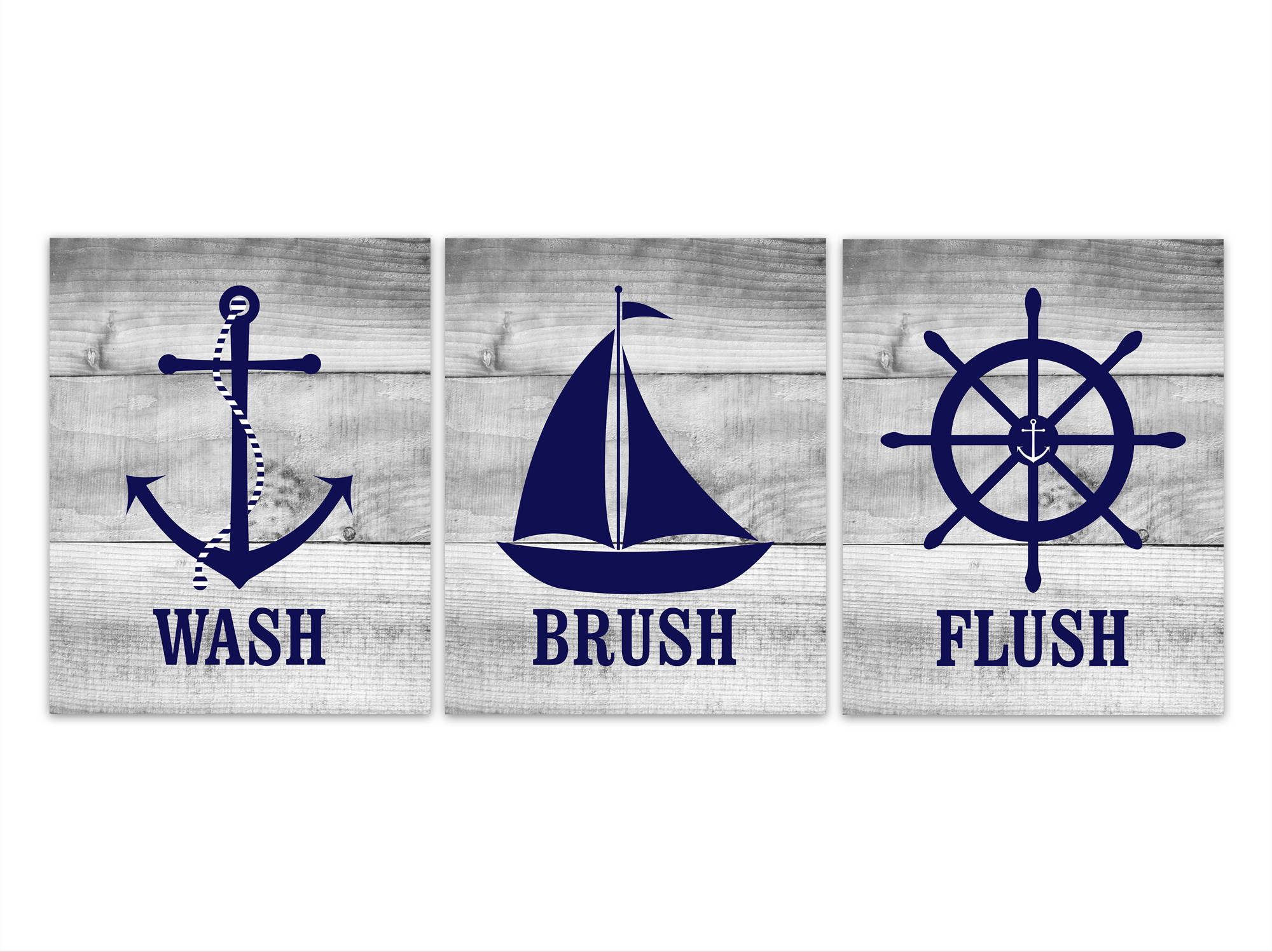 Nautical Bathroom Rules Wall Art, Wash Brush Flush CANVAS Or PRINTS, Set Of  3 Kids Bathroom Decor, Boys Bathroom Art, Anchor Wheel   BATH186