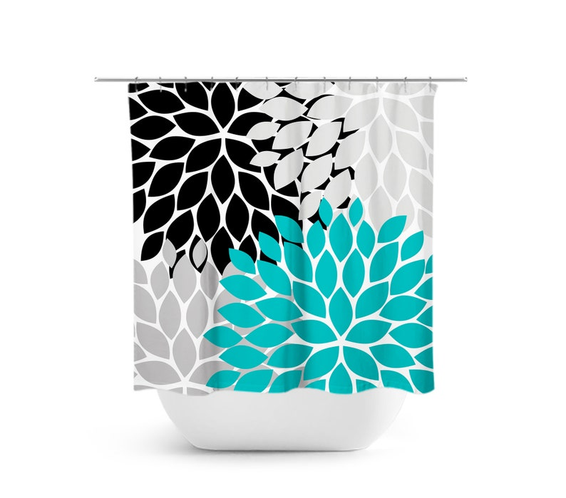 Teal Black Gray Shower Curtain Floral Bath Turquoise
