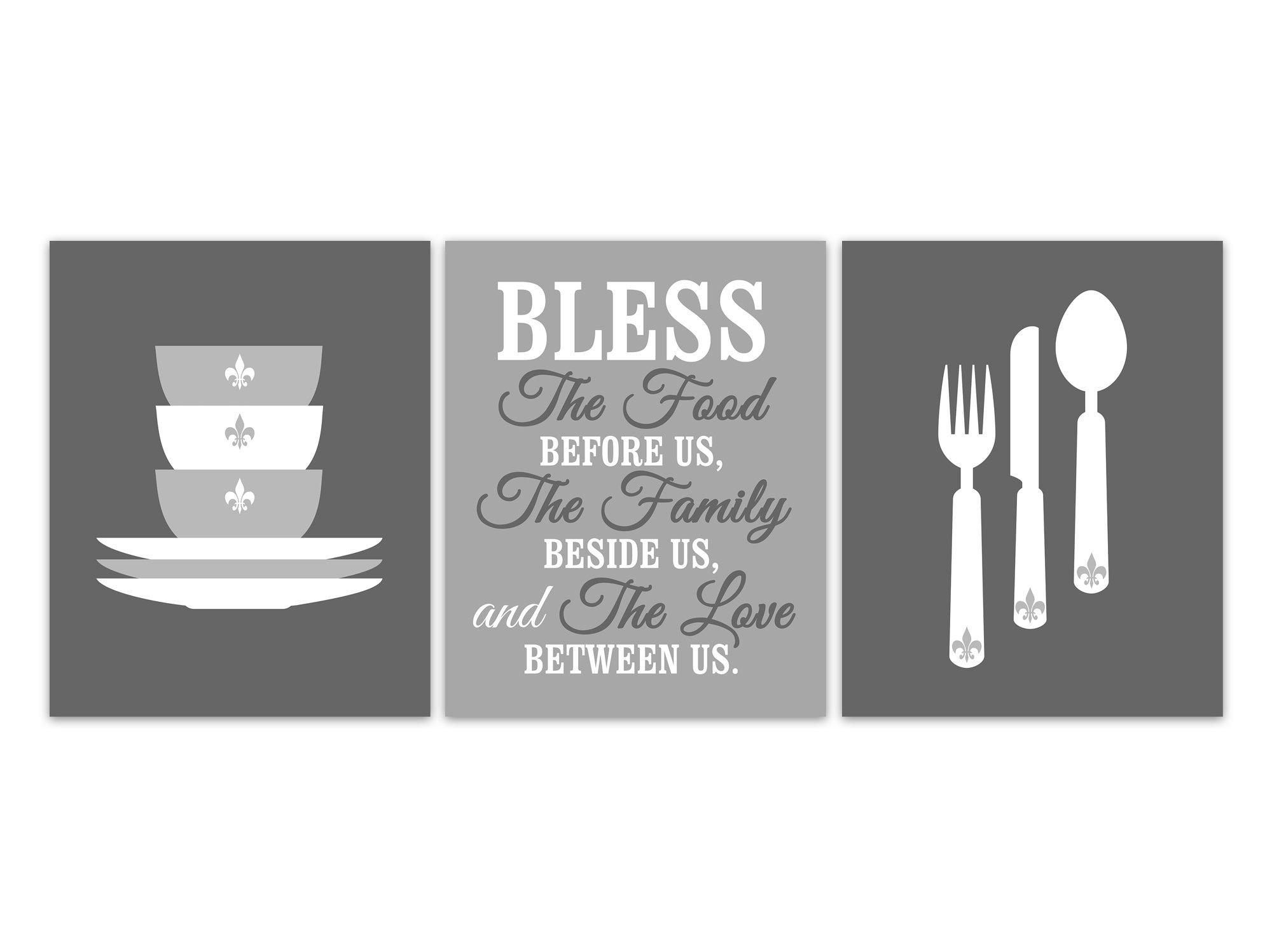 Bless The Food Before Us, Fleur De Lis Kitchen Quote Prints ...