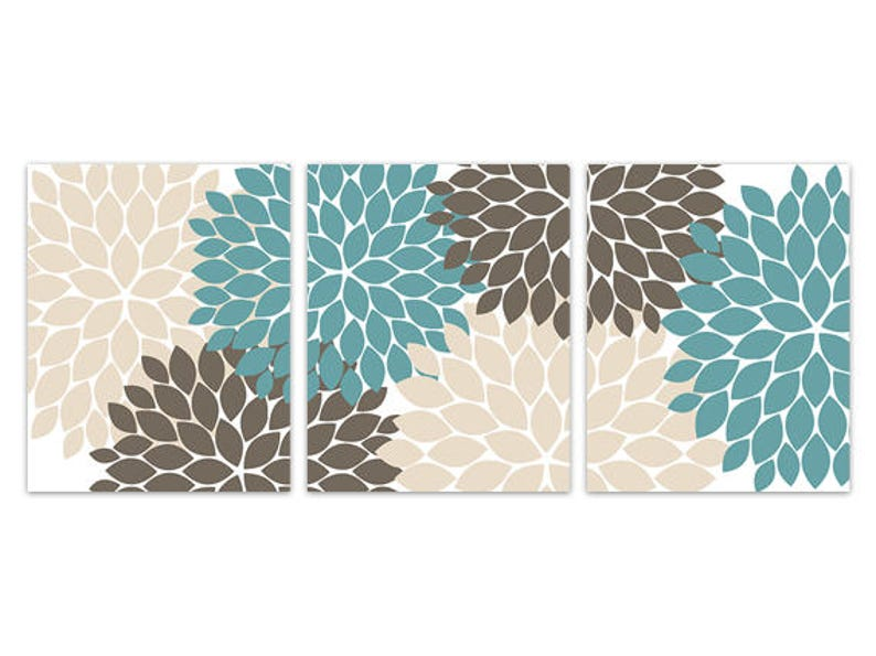 HOME219 Home Decor CANVAS Wall Art Brown Bathroom Wall Art CANVAS or PRINTS Teal and Beige Flower Burst Home Decor Teal Bedroom Decor