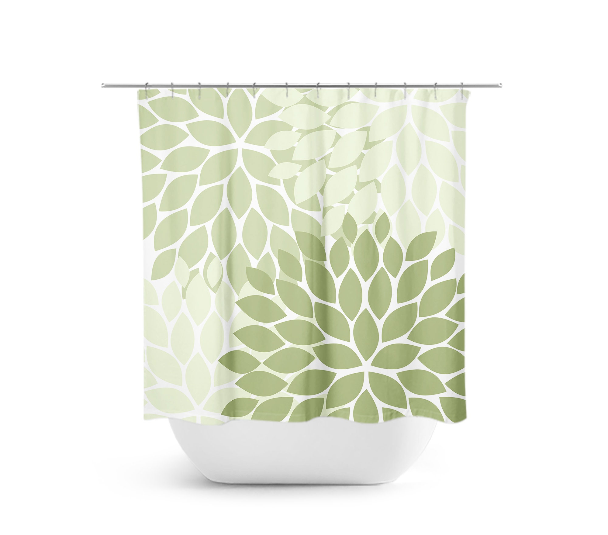 Green Flower Shower Curtain Floral Bath Curtain Sage