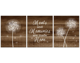 Rustic Kitchen CANVAS Or PRINTS, Meals And Memories Are Made Here,  Dandelion Artwork, Kitchen Wall Art, Rustic Decor, Cabin Decor   HOME311