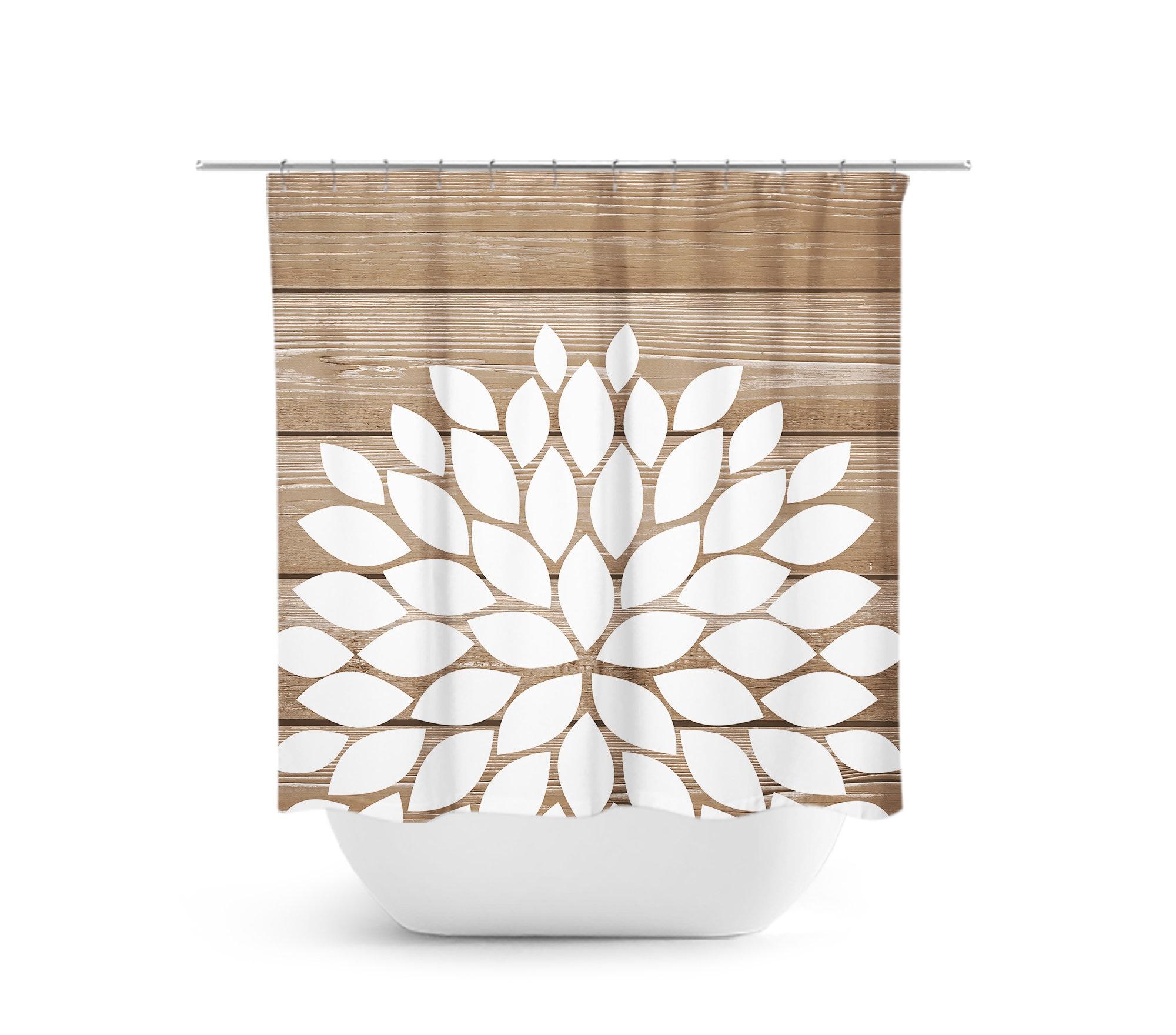 Flower Shower Curtain Tan And White Bathroom Decor