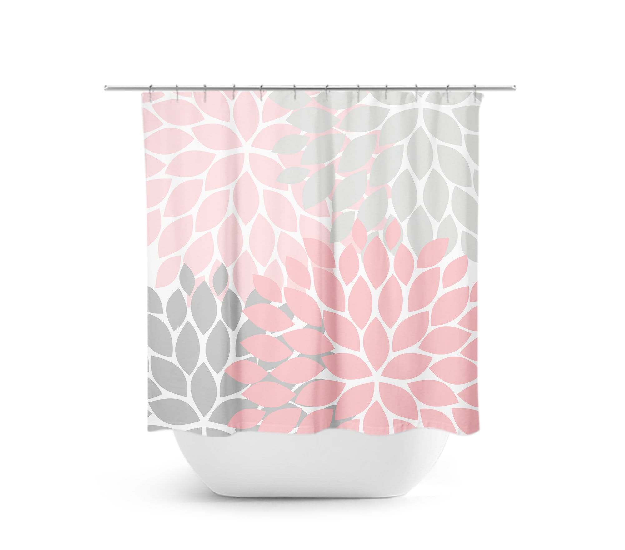 Pink And Gray Shower Curtain Floral Art Bathroom Decor Shabby Chic