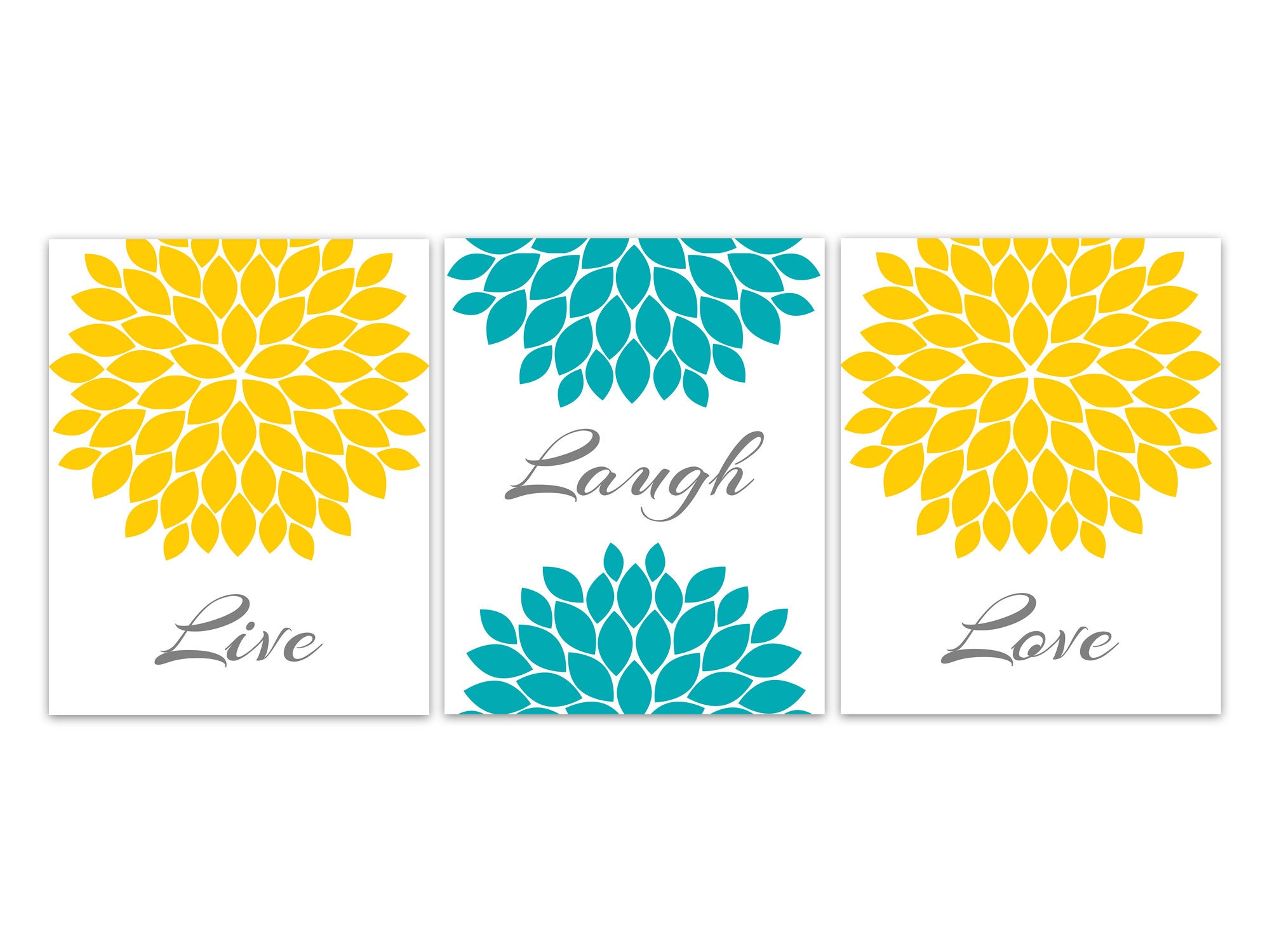 Live Laugh Love Home Decor Canvas Or Prints Teal Yellow Gray Floral