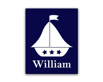 Kids Name Art, Nautical Nursery CANVAS PRINT, Personalized Name Art Print, Kids Nautical Decor, Blue Nursery Wall Art - KIDS50