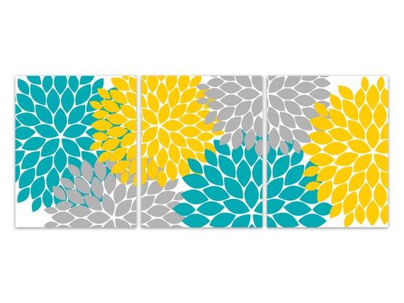 Yellow Teal Grey Flower Burst Art Home Decor Wall Art Canvas Etsy
