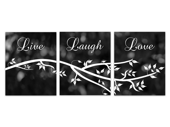 Home Decor Canvas Live Laugh Love Black And White Wall Art Etsy