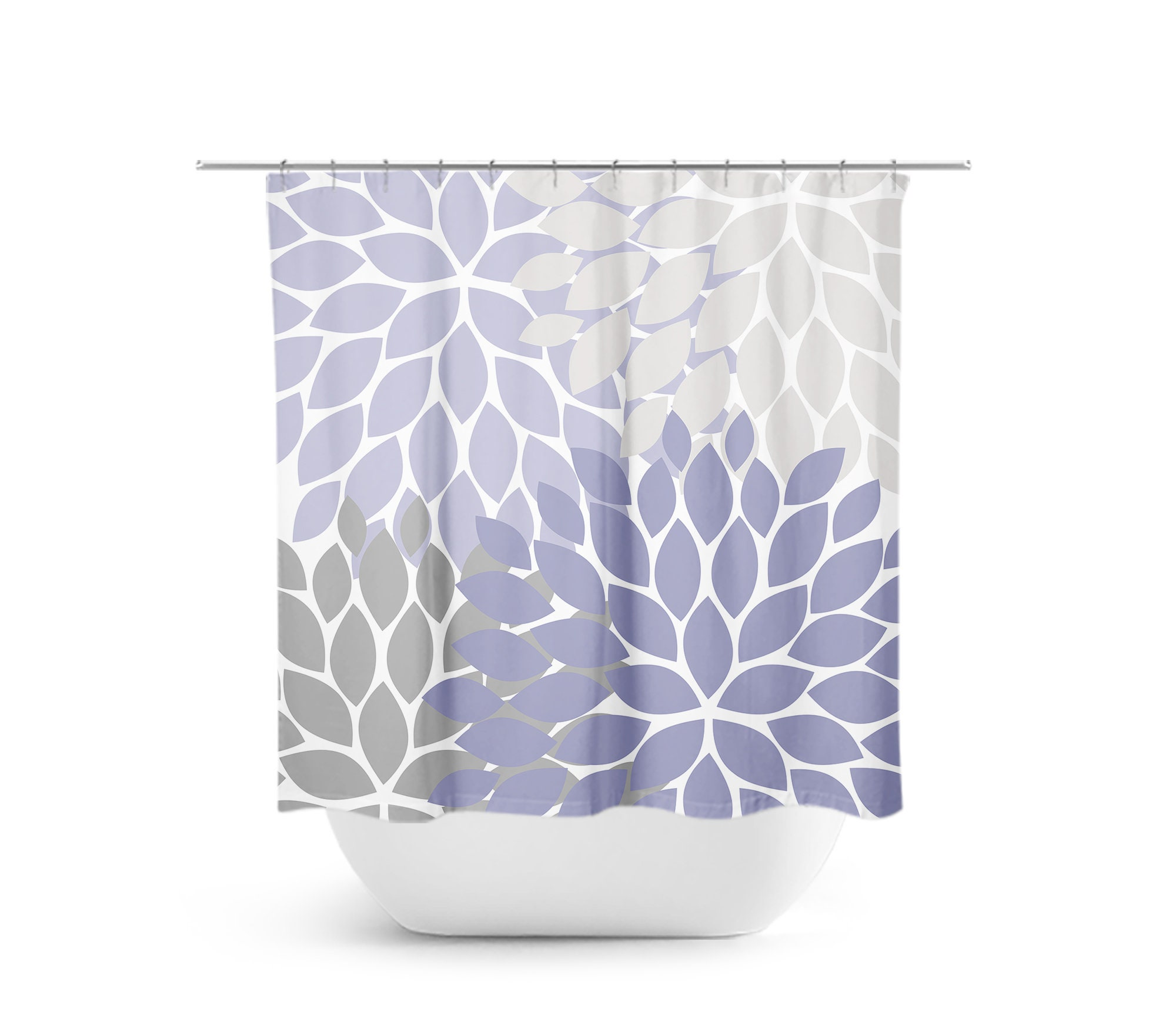 Purple Gray Shower Curtain Floral Bath Curtain Lavender