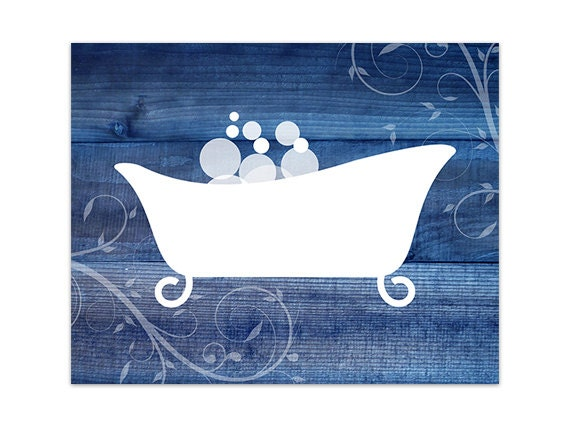 Blue Bathroom Canvas Or Print Bathroom Wall Art Home Decor