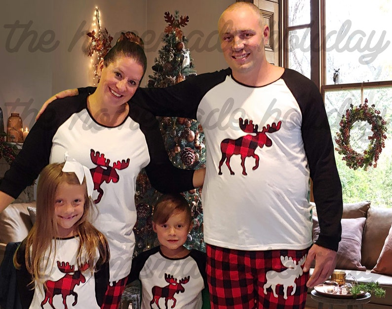 cd2ecff05d8b Buffalo Plaid Family Christmas Moose Pajamas Moose pajamas