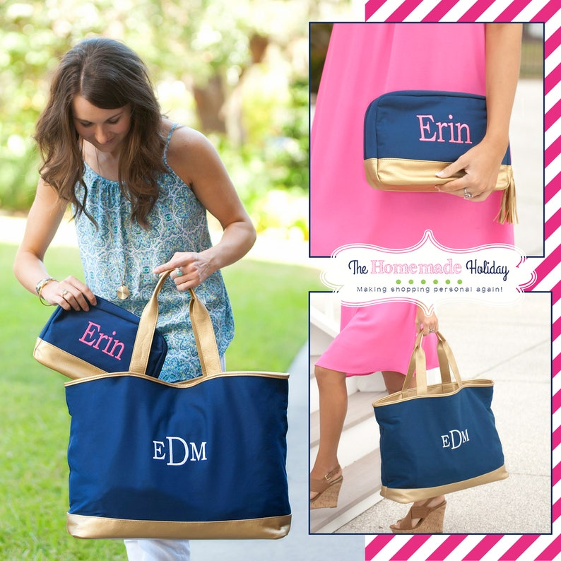 Navy and Gold Monogram tote bag canvas tote embroidered tote image 0