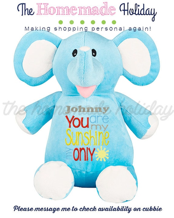 Stuffed Blue Elephant You Are My Sunshine Embroidered Etsy