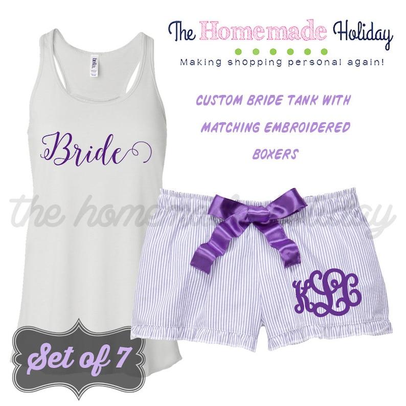 purple pajamas Set of 7 Bride to be Pajama set Personalized bridal pajamas embroidered boxers and personalized tank top pajamas