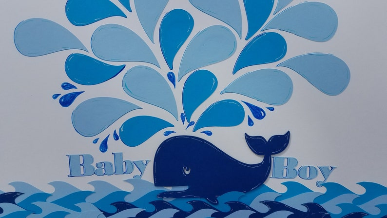Baby shower guest sign boardwall art Whale of a time
