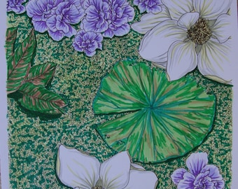 Magnolias and Water Lilies colored page