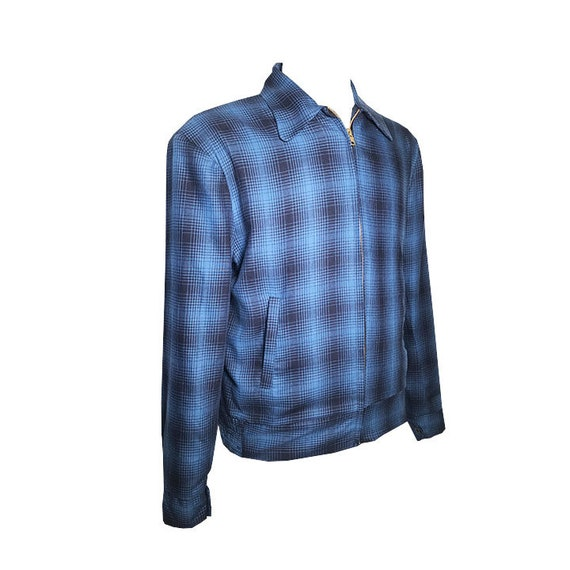 1950s Men's Clothing  Vintage 1950S Rockabilly VLV Blue Shadow Plaid Ricky Jacket -Xs-3X $169.00 AT vintagedancer.com
