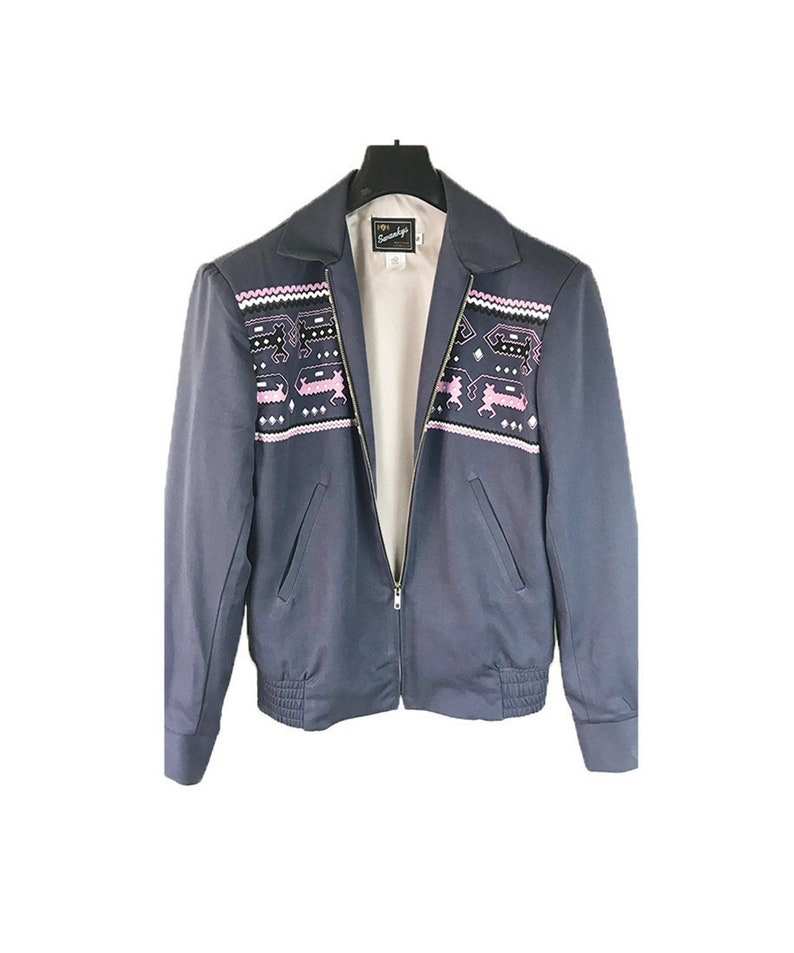 Men's Vintage Style Coats and Jackets Vintage*1950S Rockabilly VLV Rayon Novelty Hand Print Ricky Jacket-S-2X- Swankys $169.00 AT vintagedancer.com
