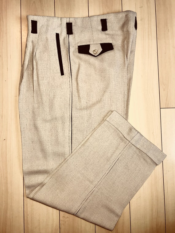 Men's Vintage Pants, Trousers, Jeans, Overalls  1940s-50s 2 Tone DROP LOOP Rockabilly VLV Grey / Beige Pants Hollywood Waist