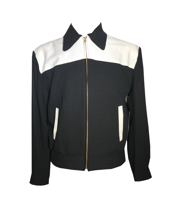 0a9078b13cc6 Men's Vintage Style Coats and Jackets Vintage 1950S Rockabilly VLV Two-Tone  Black & White