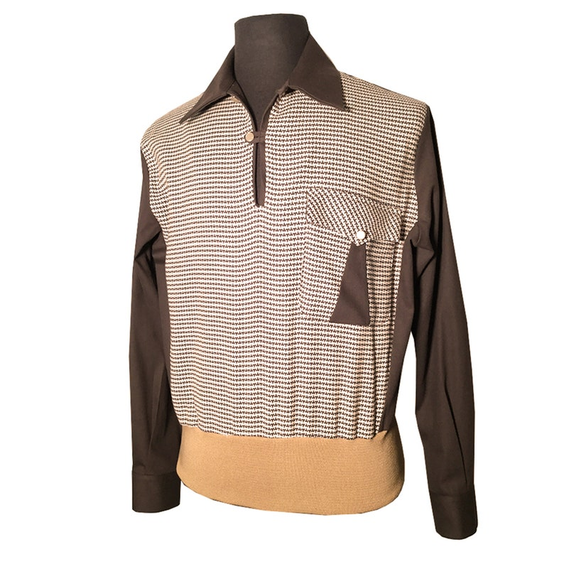 Mens Vintage Shirts – Casual, Dress, T-shirts, Polos Mens Swankys VTG 1940s-1950s Brown Jerry Lee Gaucho S-2X $130.99 AT vintagedancer.com