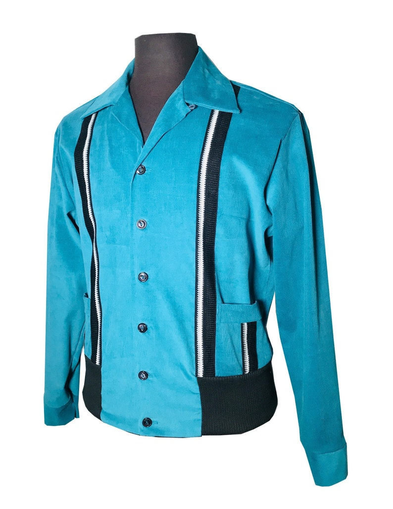 1950s Mens Shirts | Retro Bowling Shirts, Vintage Hawaiian Shirts Mens Rockabilly Swankys VTG 1950s Blue Sport Gaucho S-2X $130.99 AT vintagedancer.com