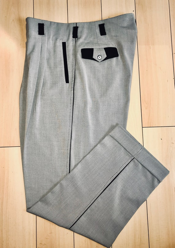 1940s Trousers, Mens Wide Leg Pants Vintage 1940s-50s 2 Tone DROP LOOP Rockabilly VLV Grey / Beige Pants Hollywood Waist