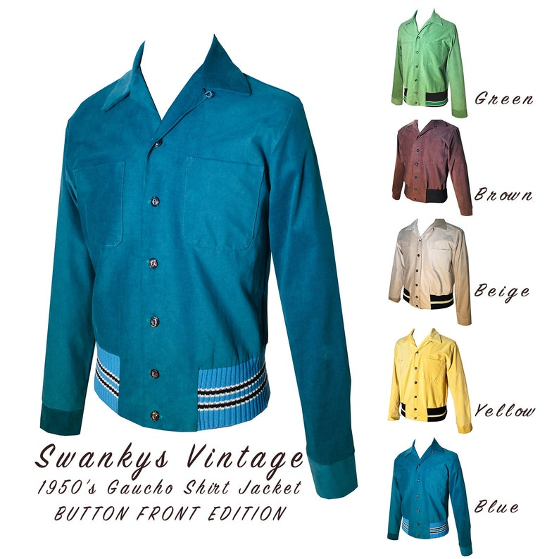 1950s Men's Clothing Mens Rockabilly Swankys Vintage 1950s Gaucho shirt S-2X $142.00 AT vintagedancer.com