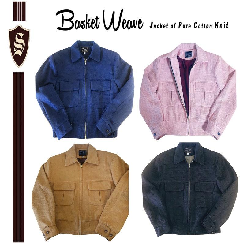 50s Men's Jackets | Greaser Jackets, Leather, Bomber, Gabardine Swankys Vintage Basket Weave Ricky Jacket $225.00 AT vintagedancer.com