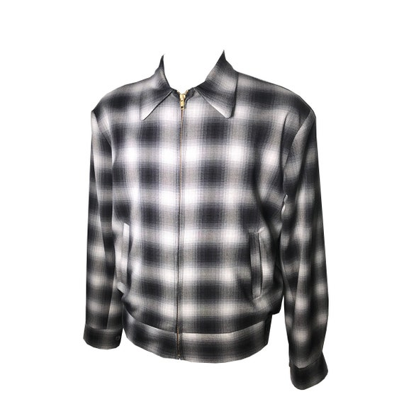 1950s Men's Clothing  Vintage 1950S Rockabilly VLV Shadow Plaid Rayon Ricky Jacket -Xs-3X $169.00 AT vintagedancer.com