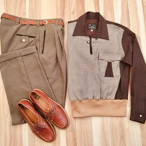 1940s Men's Fashion, Clothing Styles Mens Swankys VTG 1940s-1950s Brown Jerry Lee Gaucho S-2X $130.99 AT vintagedancer.com