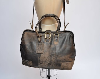 374d8bc75882 vintage leather bag CARRY ON weekender luggage suitcase travel duffel duffle  tote wilsons