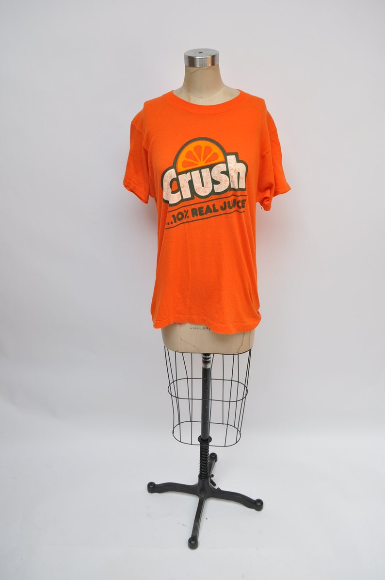 vintage tshirt ORANGE CRUSH soda t-shirt 1980s retro 80s oversized  boyfriend fit