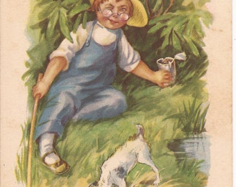 Humourus Vintage Postcard, Illustrated, boy with his dog near the water, between 1900-1915