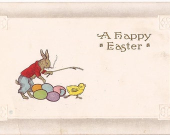 "Antique Easter postcard, ""A Happy Easter"", embossed, smoking rabbit, sample model, never written"