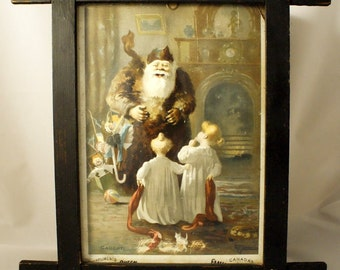 Antique frame with chromolithographed illustration of St-Nicolas with children by artist John Wilson Bengough from The Canadian Queen 1890
