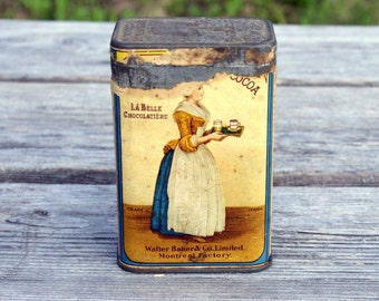 Antique Walter Baker & Co. Ltd cocoa tin La Belle Chocolatière, early 1900, Montreal Factory, Canada