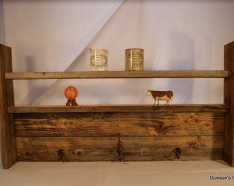 "Reclaimed barn wood wall hanger, coat hanger and shelf, old rusty hooks, 42"" L x 22"" H x 6"" D"