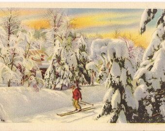 Old postcard, winter country scene, men skiing, Colourpicture Publications, Cambridge Mass., around 1920