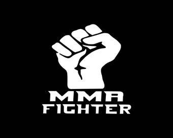 15cm WHITE MIXED MARTIAL ARTS JIU-JITSU STICKER DECAL MUAY THAI MMA FIGHTER